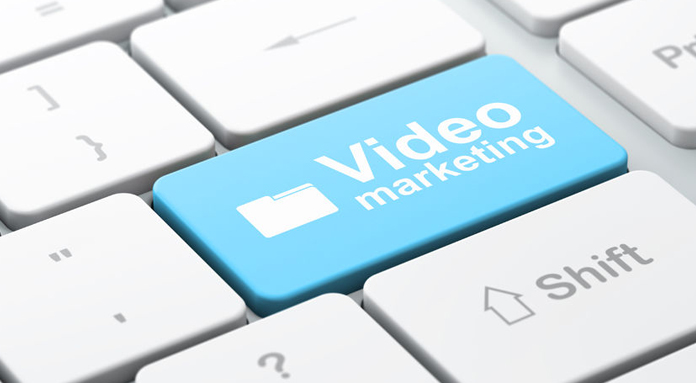 keyword with a blue button saying video marketing